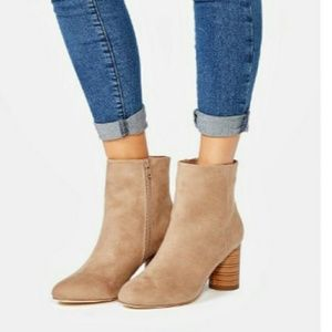 Taupe Round Toe Bootie
